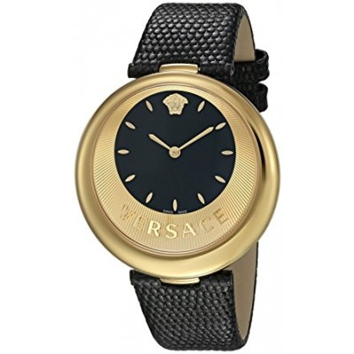 Versace Women's 'PERPETUELLE' Swiss Quartz Stainless Steel and Leather Casual Watch, Color:Black (Model: VAQ040016)