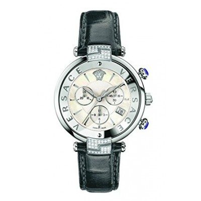 Versace Women's 'REVE' Swiss Quartz Stainless Steel and Leather Casual Watch, Color:Grey (Model: VAJ070016)