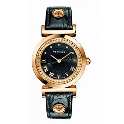 """Versace Women's P5Q80D009 S009 """"Vanity"""" Rose Gold Ion-Plated Watch with Leather Strap"""
