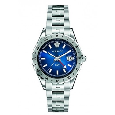 Versace Men's V11010015 HELLENYIUM GMT Analog Display Swiss Quartz Silver Watch