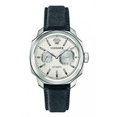 Versace Men's 'Dylos' Automatic Stainless Steel and Leather Casual Watch, Color:Grey (Model: V14010016)
