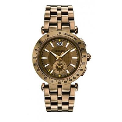 Versace Men's 'V-Race' Swiss Quartz Stainless Steel Casual Watch, Color:Bronze-Toned (Model: VAH060016)
