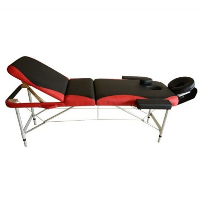 """HOMCOM 700-039RD 73"""" 3 Section Foldable Massage Table Professional Salon Spa Facial Couch Bed (Black/Red)"""