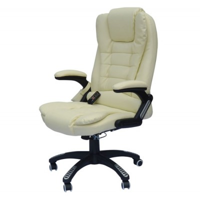 HOMCOM Adjustable Heated Ergonomic Massage Office Chair Swivel Vibrating High Back Leather Executive Chair Home Office Furniture (Beige)