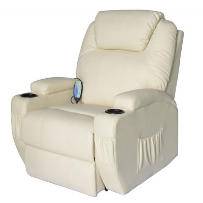 HomCom A2-0061 Luxury Massage Sofa Leather Adjustable Recliner Chair Armchair (Cream)