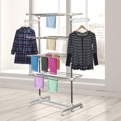 HomCom Rolling Foldable Clothes Drying Rack Heavy-Duty Laundry Rack Towel Holder with 4 Layers Stainless Steel Hanging Rods, White/Silver