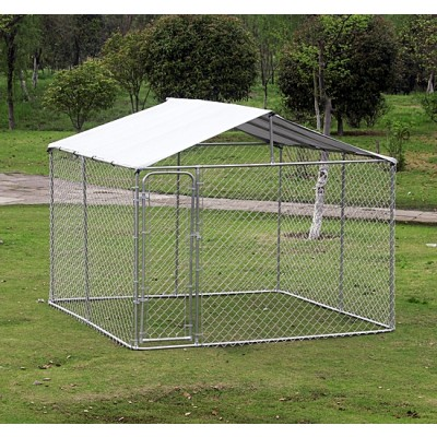 PawHut 10'Lx10'Wx6'H Large Outdoor Dog Kennel Playpen Pet Exercise House Cage with Canopy Roof, Silver