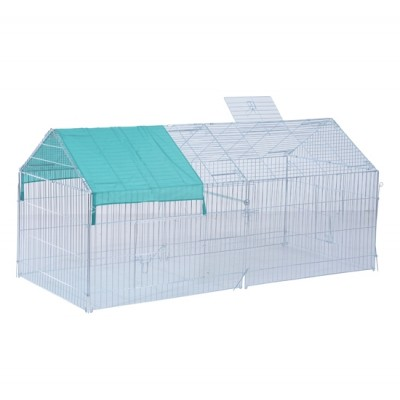 PawHut 87x41x41-IN Small Animal Enclosure Rabbit Dog Pet Metal Cage Outdoor Run Play with Cover (Green)