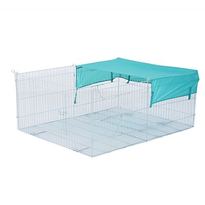 """PawHut 56.5"""" x 44"""" x 23.5"""" Small Animal Enclosure Rabbit Dog Pet Metal Net Outdoor Run Play with Cover"""