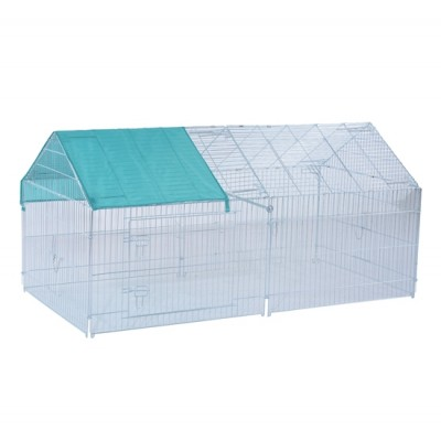 """PawHut 80"""" x 40.5"""" x 39"""" Small Animal Enclosure Rabbit Dog Pet Metal Net Outdoor Run Play with Cover"""