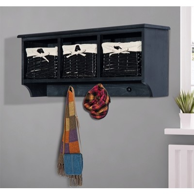 "HOMCOM 31"" Hanging Entryway Cubbie Shelf Storage Rack Organizer with 3 Basket and 3 Hooks (Black)"
