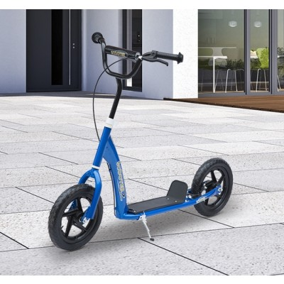 "Qaba Adjustable Kids Pro Stunt Scooter Children Street Bike Bicycle Ride On with 12"" Tire (Blue)"