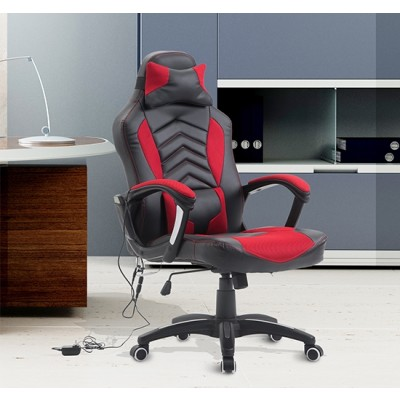 HOMCOM Ergonomic Massage Office Chair Heated Vibrating Swivel Computer Seat with Pillow and Lumbar Support (Black/Red)