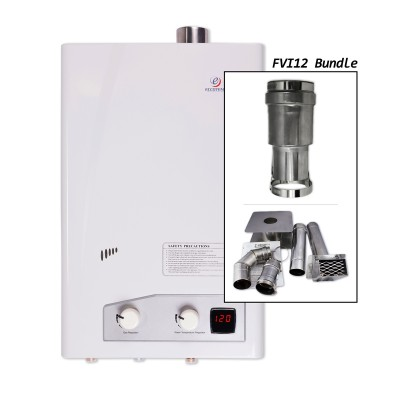 Eccotemp FVI12-NG Indoor Forced Vent Natural Gas Tankless Water Heater Horizontal Bundle