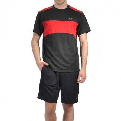 MATCH SHORT SLEEVE in Black and Red