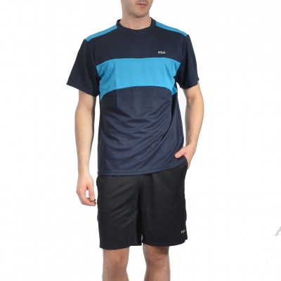 MATCH SHORT SLEEVE in Midnight and Turquoise