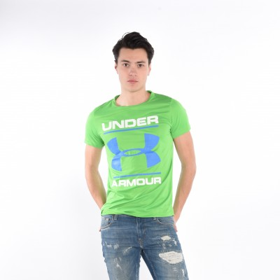 Men's T-shirt in Green with Blue Print
