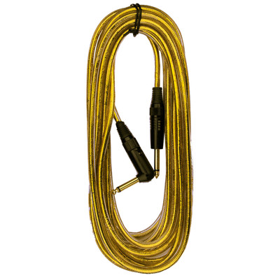 "RockCable 1/4"" 6m/20' Gold Angled Guitar/Instrument Cable - 30256D7G - RockCable - RCL 30256 D7GLD"