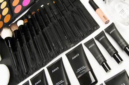 An angled shot of various AW03 Maquillage makeup
