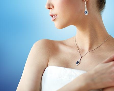Woman wearing sapphire gemstones