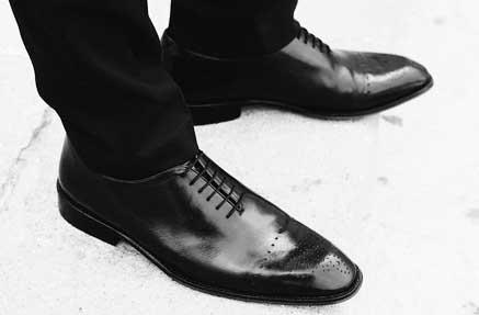 A pair of black men's dress shoes