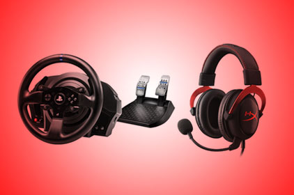 A gaming head set and steering wheel on a red background