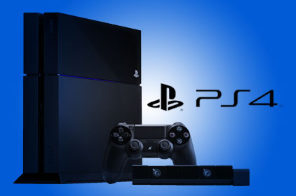 A PS4 on a blue background