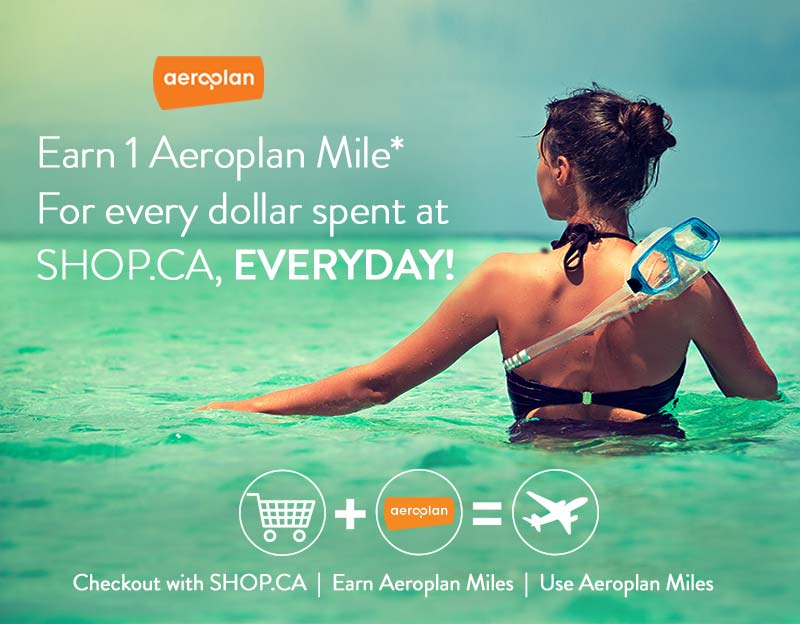 The back of a woman standing waist deep in tropical green waters with the Aeroplan logo in the top left. Text reads: Earn 1 Aeroplan Mile* For every dollar spent at SHOP.CA, EVERYDAY! Followed by icons and text that reads: Checkout with SHOP.CA | Earn Aeroplan Miles | Use Aeroplan Miles